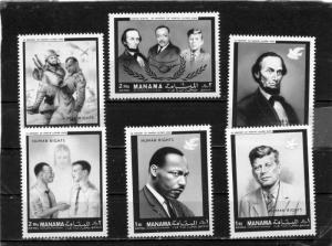 MANAMA 1968 Sc#99-104 FAMOUS PEOPLE SET OF 6 STAMPS PERF. MNH