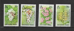 ASCENSION ISLAND - 1985 WILDFLOWERS - SCOTT 381 TO 384 - MNH