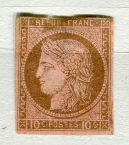 FRENCH COLONIES; 1870s classic Ceres Imperf issue used 10c. value (thin)
