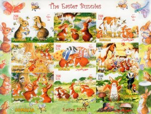 Somalia 2003 THE EASTER BUNNIES-MUSHROOMS-CATS-INSECTS SHLT.(9) IMPERF.MNH