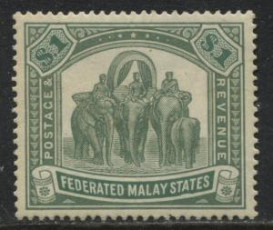 Federated Malay States 1900 $1 green & light green mint o.g.