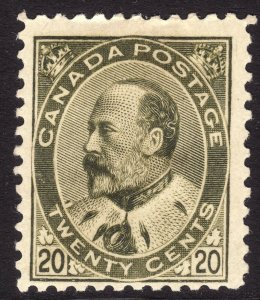 1903 - 1908 Canada KEVII 20¢ MH Scott Catalogue Number 94