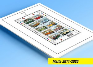COLOR PRINTED MALTA 2011-2020 STAMP ALBUM PAGES (87 illustrated pages)