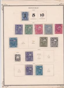 honduras stamps on 1 album page ref 13483