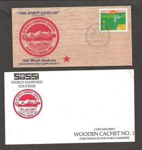 1983 Canada Scouts Jamboree FDC SOSSI wood postcard