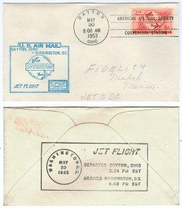 Scott C47 1953 6c Airmail Jet Flight Cover Dayton to Washington DC