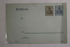 Germany Postal card stationery HG70 Higgins Gage Mint blue -fold fault DC