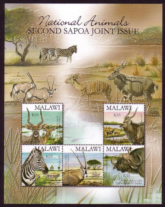 Malawi Wild Animals SAPOA 2nd Issue MS - RARE SG#MS1044