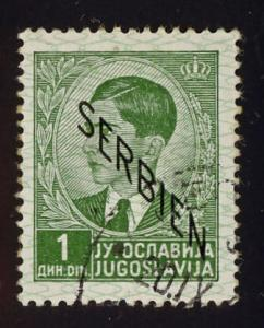 Serbia Sc# 2N3  1d King Petar, descending overprint used