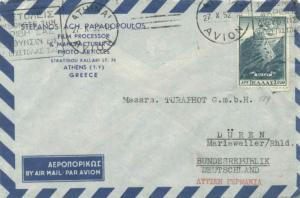 Greece 1700D Victory Above Mt. Vitsi Air 1952 Athinai, Avion Airmail to Duren...