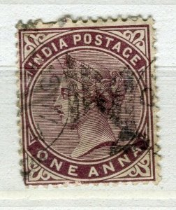 INDIA; 1880s classic QV issue fine used + Fiscal cancel 1a. value