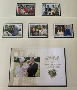 JE27) Jersey 2016 Duke and Duchess Anniversary set of 5 & M/S MUH