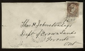 Canada 3 Cent Small Queen on 1875 North Douro ON cover to Toronto