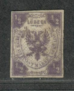Lubeck Sc#1 M/H/VF. Disturbed Gum, PF Cert, Rare, Cv. $2200