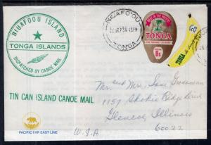 Tonga to Chicago,IL Tin Can Island Canoe Mail 1973 Cover