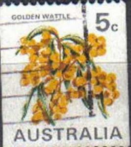 AUSTRALIA, 1970, used 5c. Golden Wattle, Coil Stamps.