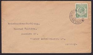 GB 1933 ½d postcard cut out used on cover Colchester to Germany.............6876