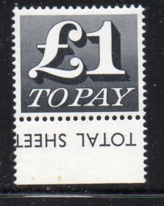 Great Britain Sc J90 1970 1 pound postage due stamp mint NH
