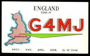 QSL QSO RADIO CARD G4MJ,Ken Basterfield,, Birmingham, England (Q3568)