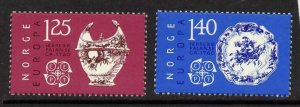 Norway 675-6 MNH EUROPA, Ceramic Bowl, Plate