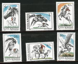 ROMANIA Scott 3736-41 MNH** Horse set 1992