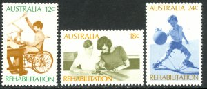 AUSTRALIA 1972 REHABILITATION OF THE HANDICAPPED Set Sc 523-525 MNH
