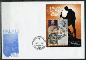PALAU 2019 MAHATMA GANDHI 150th BIRTH SOUVENIR SHEET  FDC