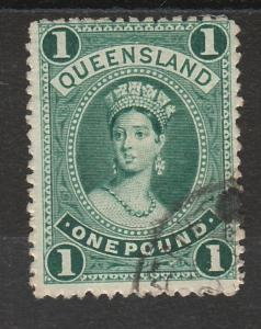 QUEENSLAND 1882 QV LARGE CHALON 1 POUND WMK CROWN/Q UPRIGHT USED