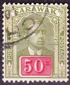 SARAWAK 1918 50Cents Olive-Green & Carmine SG60FU