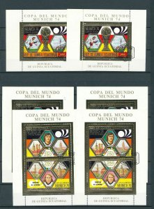 Guinea Equatorial 1974 Soccer Gold Sheets Used x 6 (GU56