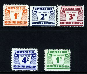 NORTHERN RHODESIA QE II 1963 Postage Dues Part Set SG D5 to SG D10 MINT