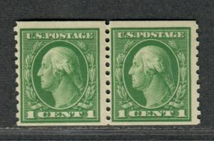 US Sc#443 M/NH/F-VF, Coil Pair, Cv. $160