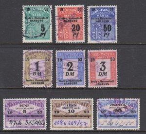 Germany, Hamburg, 1953 Court Fee revenues, 9 different, used, sound, F-VF.