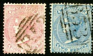 Mauritius Stamps # 25-6 Used Fresh Scott Value $102.00