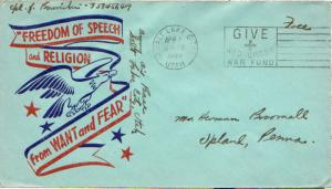 United States Utah Salt Lake City 1944 machine  Inscribed Army Air Base  'Fre...