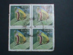 BRAZIL STAMP-1979 SC# 1621 BEAUTIFUL BUTTERFLY-WITH CANCEL USED BLOCK OF 4 VF
