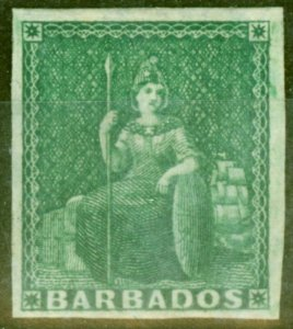 Barbados 1855 (1/2d) Yellow-Green SG1 Blued Paper Fine Mtd Mint