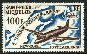 St Pierre & Miquelon C28, MNH. Airmail service St. Pierre & New York City, 1964