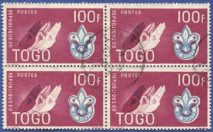 TOGO 1961 100f Used Block of 4 Sc 406 Boy Scouts, SOTN LOME Cancel