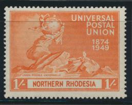 Northern Rhodesia  SG 52 SC# 52 MLH - UPU 1949 -  see details