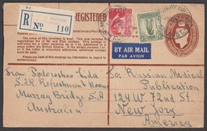 AUSTRALIA 1950 GVI 8½d registered envelope uprated airmail to USA...........N606