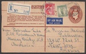 AUSTRALIA 1950 GVI 8½d registered envelope uprated airmail to USA...........N606