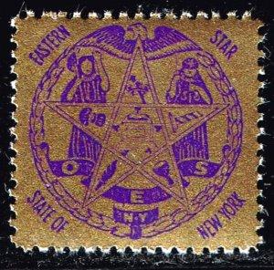 US STAMP  O.E.S. Masonic CHARITY STATE OF NEW YORK GOLDEN GLAZED MNH/OG FRESH