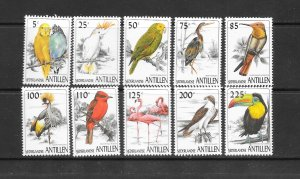 BIRDS - NETHERLANDS ANTILLES #784-93  MNH