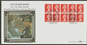 18/11/1997 £2.60 HARRISON 10 x 1st NVI BOOKLET/ LAY FLAT PVA / BLUE FLUOR FDC