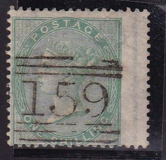 Great Britain 1865 1sh green right wing margin  F/VF/used