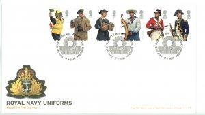 Great Britain 2009 FDC  Royal Navy Uniforms Sc# 2686-91 se tenant strips