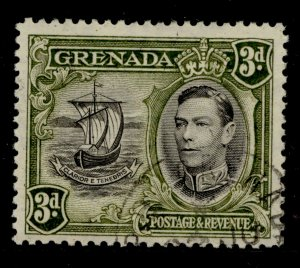 GRENADA SG158, 3d black and olive-green, FINE USED.
