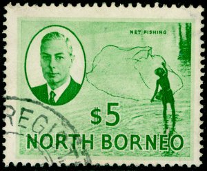 NORTH BORNEO SG369, $5 emerald-green, FINE USED. Cat £35.