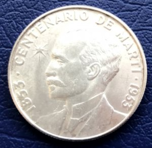 1953 Cuba Silver Coin 50c Jose Marti Centenary UNC